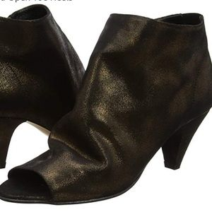 H by Hudson London Goa  Peep Toe Booties Gold